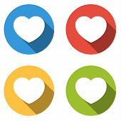 Collection Of 4 Isolated Flat Colorful Buttons For Heart / Like With Long Shadow