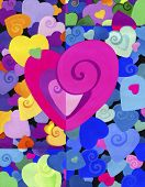 Painted decorative heart on the background of many colors, beautiful. small and large hearts.   Back