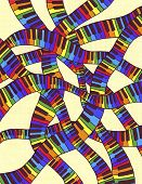 pic of rainbow piano  - Fancy weave colorful keyboards in the art ornament - JPG