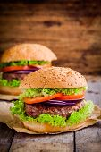 Two Homemade Hamburgers With Fresh Organic Vegetables