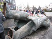 Thrown Big Bronze Monument To Lenin In 2014