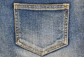 stock photo of denim jeans  - Fragment of jeans with pocket - JPG