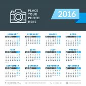 Calendar 2016 Vector Decign Template. Week Starts Monday