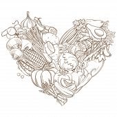 Outline hand drawn sketch of vegetable heart flat style, thin