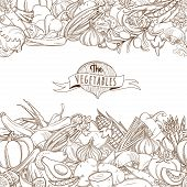 Outline hand drawn sketch seamless vegetable border flat style,