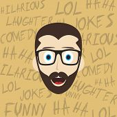 image of comedy  - laughing guy cartoon character comedy theme vector illustration - JPG