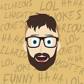 stock photo of comedy  - laughing guy cartoon character comedy theme vector illustration - JPG