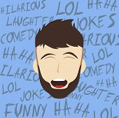 picture of comedy  - laughing guy cartoon character comedy theme vector illustration - JPG