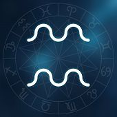 Zodiac Sign - Aquarius. White Thin Simple Line Astrological Symbol On Blurry Abstract Background