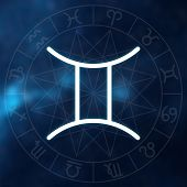 Zodiac Sign - Gemini. White Thin Simple Line Astrological Symbol On Blurry Abstract Space Background