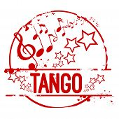 image of tango  - Stamp Tango in red with stars and music notes - JPG