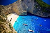 image of shipwreck  - Aerial view of the most beautiful beach in Zakynthos island - Navagio with shipwreck Greece Ionian islands