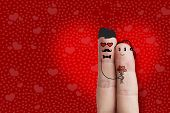Finger Art. Hipster Lovers are Embracing and Holding bouquet of red hearts. Stock Image