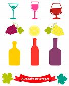 Set of alcoholic beverages with grapes and a glass. Vector illustration