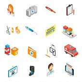 picture of medical staff  - Doctor icon isometric set with pharmacy medical staff physician symbols isolated vector illustration - JPG