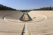 Panathenaic stadium at Arditos hill, Athens, Greece (Kallimarmaro)