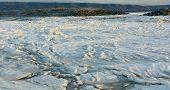 Ice Floe Behind Gravel Bar