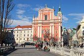 Triple Bridge (tromostovje), Preseren Square And Franciscan Church, Ljubljana, Slovenia