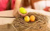 Girl Taking Easter Egg From The Nest