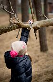 Girl Reaching For Easter Egg On High Tree Branch
