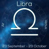 Zodiac Sign - Libra. White Line Astrological Symbol With Caption, Dates, Planet And Element