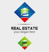 Rhombus and house logo vector