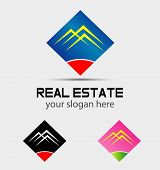 Real estate houses logo icons isolated