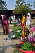 Jodhpur, India - January 2, 2015: Indian People Shopping At Typical Vegetable Street Market In India