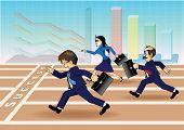 Businessman running a race to success
