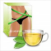 Slimming Tea. Tea Packaging With The Image Of Shapely Female Hips.