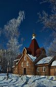 Small Wooden Orthodox Church .