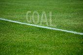 Football Goal text on grass with white lane