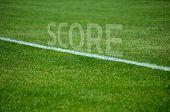Football Team text on grass with white lane