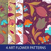 Set of flower patterns with tulips.