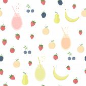 stock photo of smoothies  - Seamless background with smoothies fruits and berries - JPG
