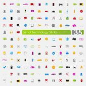 Set of technology stickers