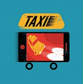 Taxi. Retro grunge poster with smartphone. Mobile app for booking taxi. Vector illustration.