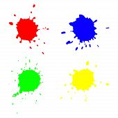 colorful vector stains set. blots, paint splashes
