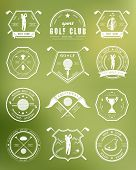 stock photo of clubbing  - Vector set of golf club badges labels and emblems - JPG