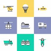 Various Transportation Pictogram Icons Set