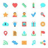 set of flat web icons