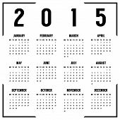 european black and white 2015 year calendar