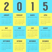 calendar of 2015 year in the colors of Ukrainian flag