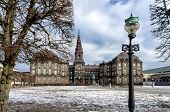 Christiansborg Castle With The Parliament In Copenhagen