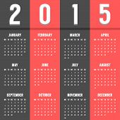 black and red european calendar of 2015 year