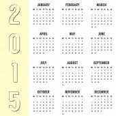simple calendar of 2015 year with the yellow side