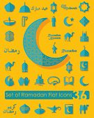 stock photo of ramadan mubarak  - It is a set of 36 ramadan flat vector icons - JPG