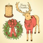 Sketch Fancy Reindeer With Candle And Wreath