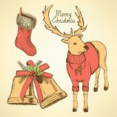 Sketch Fancy Reindeer In Vintage Style
