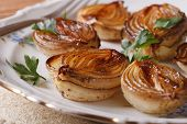 Caramelized Onions And Parsley Close-up. Horizontal